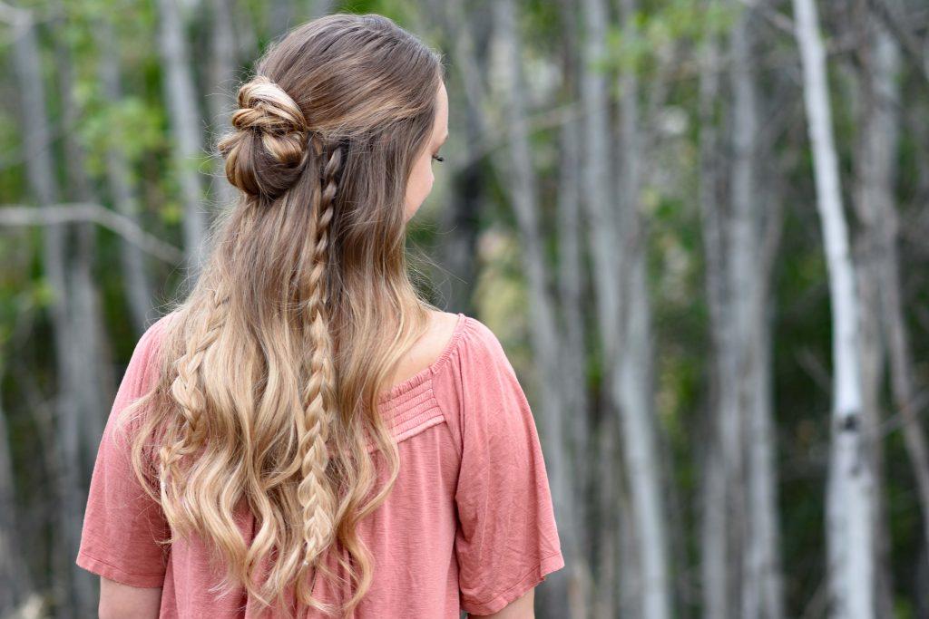 Half up Half Down Bun Combo   Cute Girls Hairstyles