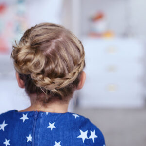 "Close up back view of little girl modeling ""Toddler Crown Braid"" hairstyle"
