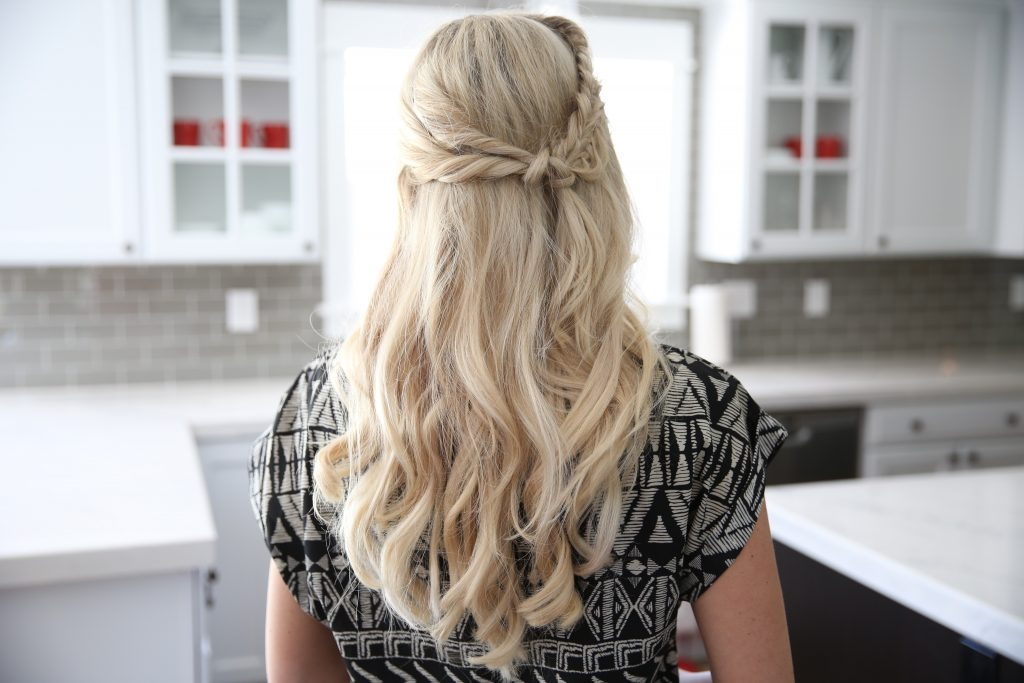 "Back view of a blonde woman standing her kitchen modeling ""Half Up Side Braid"" hairstyle"
