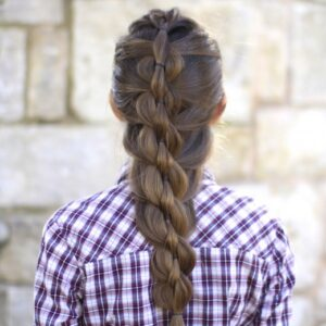 "Back view of girl with purple shirt standing outside modeling ""Pull-Through Mermaid Braid"" hairstyle"