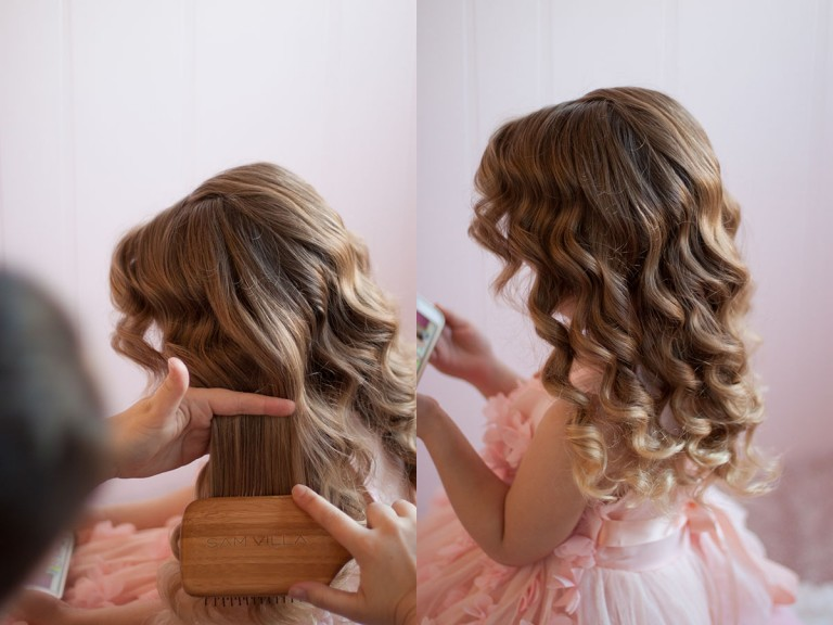 Side-by-side of young girl wearing a pink dress with Retro Waves.