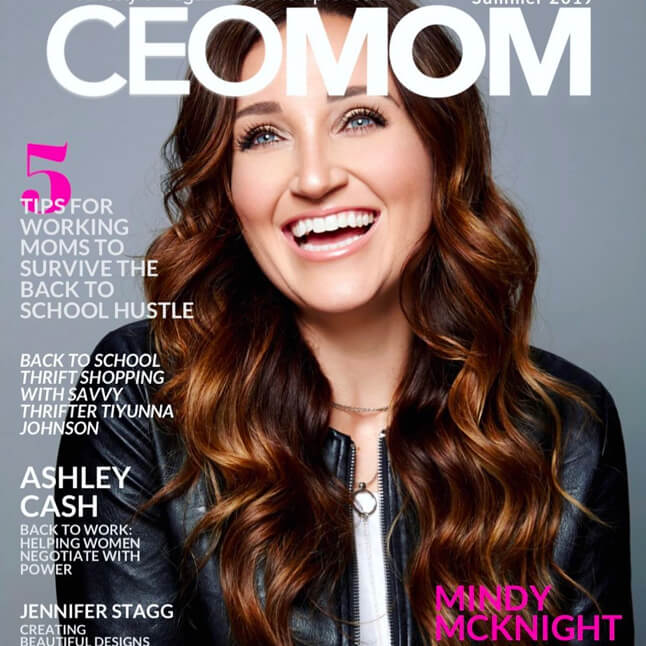 Mindy Mcknight on the front page of CEOMom magazine Summer 2019