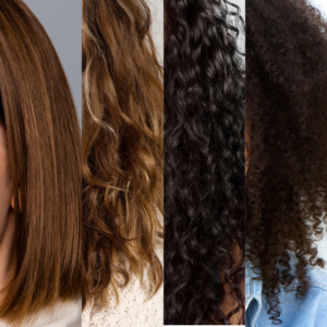 4 different hair types (left to right) Straight, Wavy, Curly, Coily