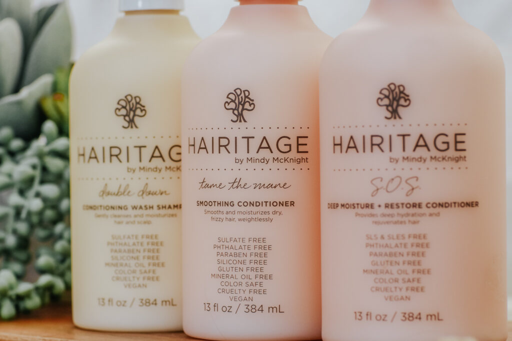 Hairitage By Mindy, Double Down Conditioning Wash Shampoo, Tame the Mane Smoothing Conditioner, S.O.S Deep Moisture + Restore Conditioner, 13 fl oz