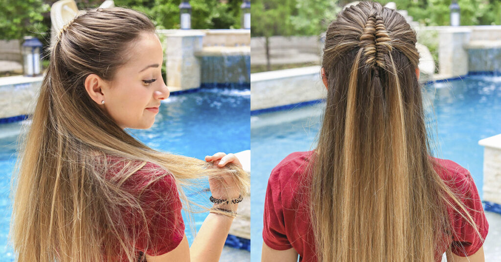 Side view Back view of girl by the pool with long hair and showcasing long infinity braid and back up close view