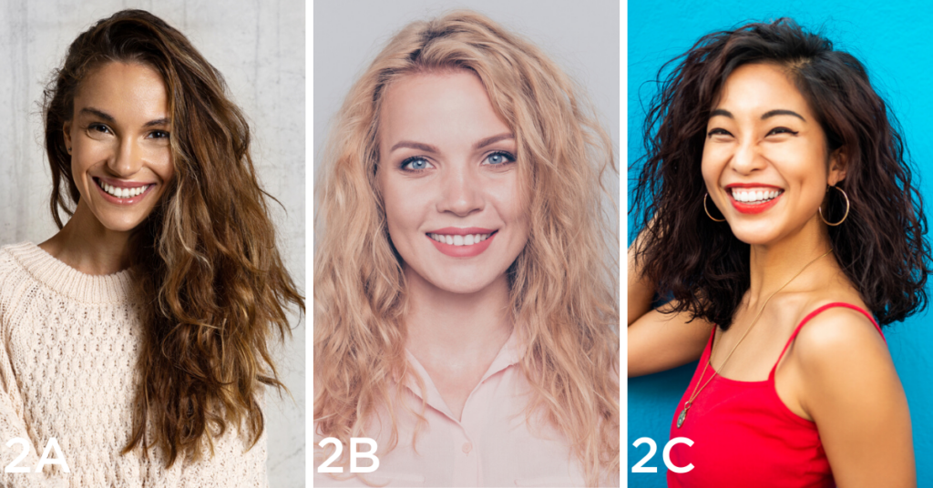 Wavy hair examples (Left to right): portrait of a happy woman with long brunette hair, portrait of a happy woman with medium length blonder hair with my defined waves, and side profile of happy woman with short brunette hair with waves that are close to curly hair.