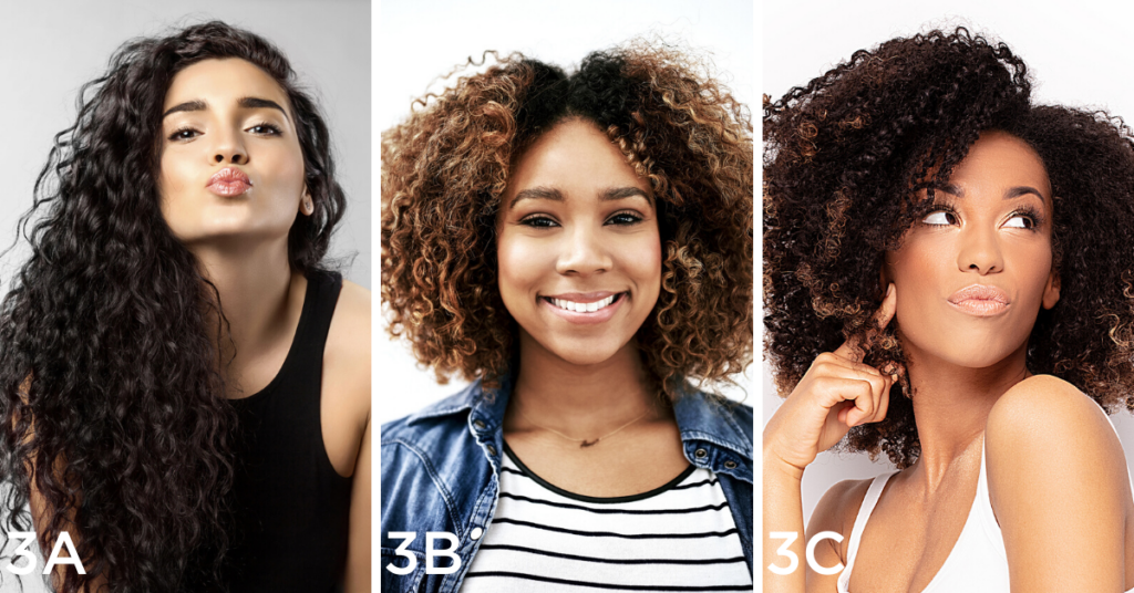 Curly hair examples (Left to right): Woman with black curly hair gives a kiss, Closeup shot of a young woman posing against a white background, Young woman posing. White studio background.