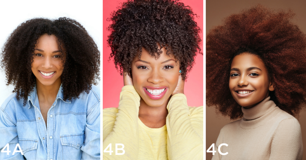 Coily hair examples (Left to right): Close up portrait of an attractive young black woman with curly hair smiling on isolated white background, Portrait of a cheerful African American woman with hands over ears, Photo of cheerful curly girl with positive emotions