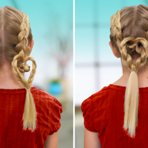 "Side-by-side of the ""Dutch Heart 2 in 1"" hairstyle."