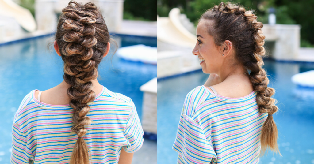 "Side-by-side view of girl with striped shirt standing by the pool modeling the ""CGH Wrap Braid"" hairstyle"