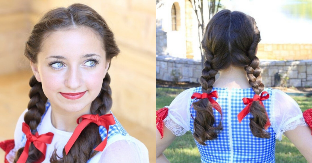 "Side by side, (left) Portrait image of girl with red ribbon in her hair modeling ""Dorothy Braids"" (Right) Back view of girl wearing costume with red ribbon in her hair modeling ""Dorothy Braids"""