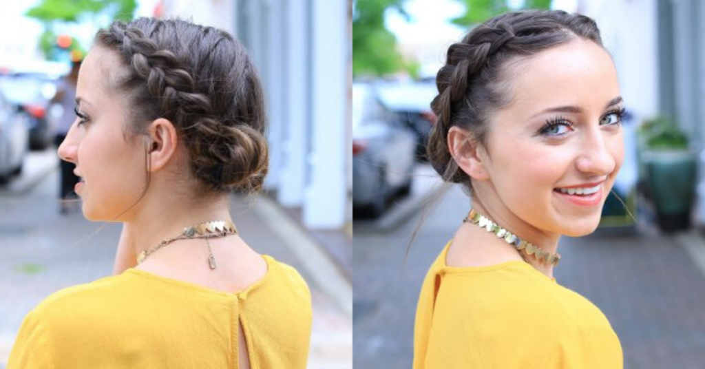 "Side-by-Side of girl with a yellow shirt standing outside smiling modeling the ""Double Dutch Buns"" hairstyle"