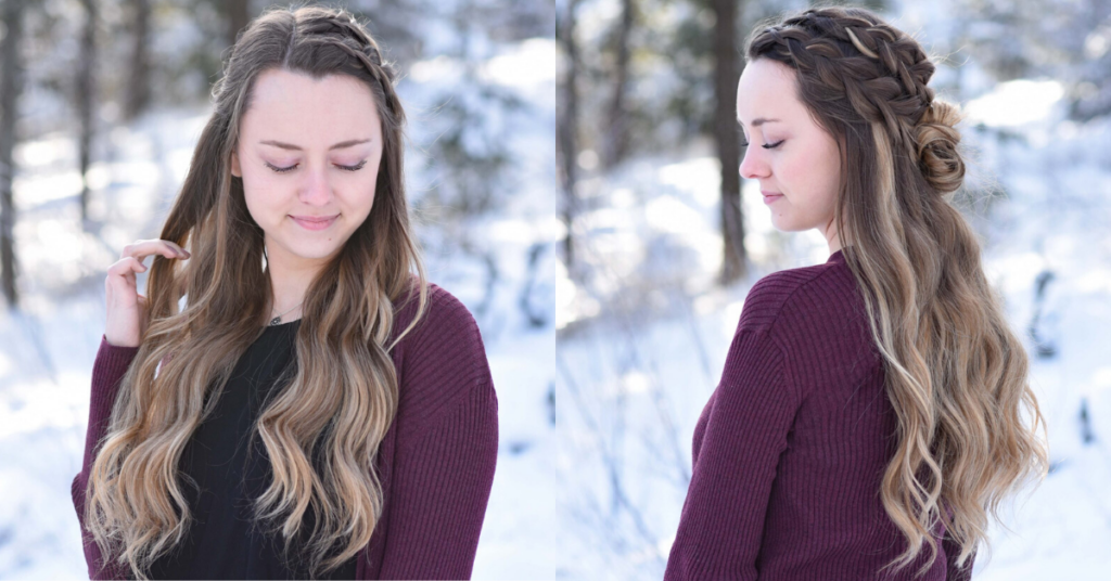 "Side by side of girl looking down while standing outside in a snowy forest modeling the ""Double Dutch Half-Up"" hairstyle"