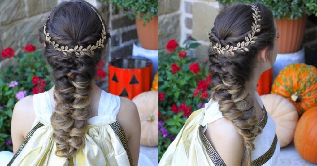 "Side by side, (left) Back view of girl wearing a greek goddess costume modeling ""Twist Faux Braid"" (Right) side view of ""Twist Faux Braid"" hairstyle"