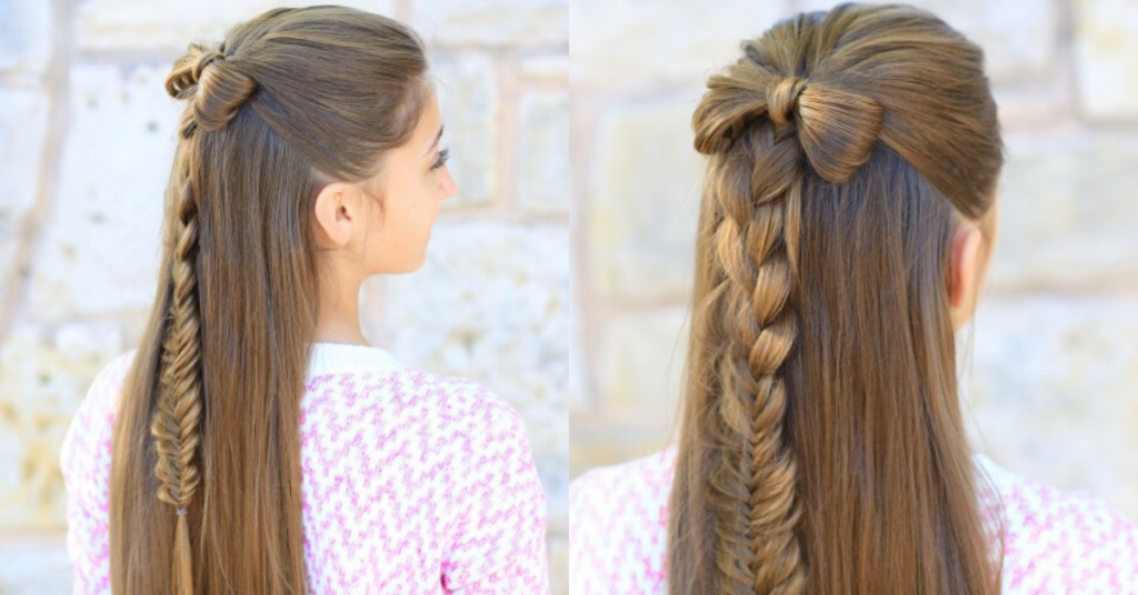"Side by side girl with long hair standing outside modeling ""Half-Up Braid Bow"" hairstyle"