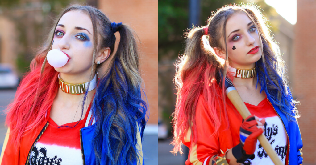 (Left) Girl standing outside and wearing 'Harley Quinn' costume blowing a bubble with her gum (Right) Girl standing outside posing and wearing 'Harley' Halloween costume.
