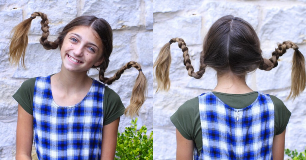 "(Left) Girl standing outside with braided pigtails in a 'Pippi Longstocking' Halloween costume (Right) Back view of ""Pippi Longstocking"" hairstyle"