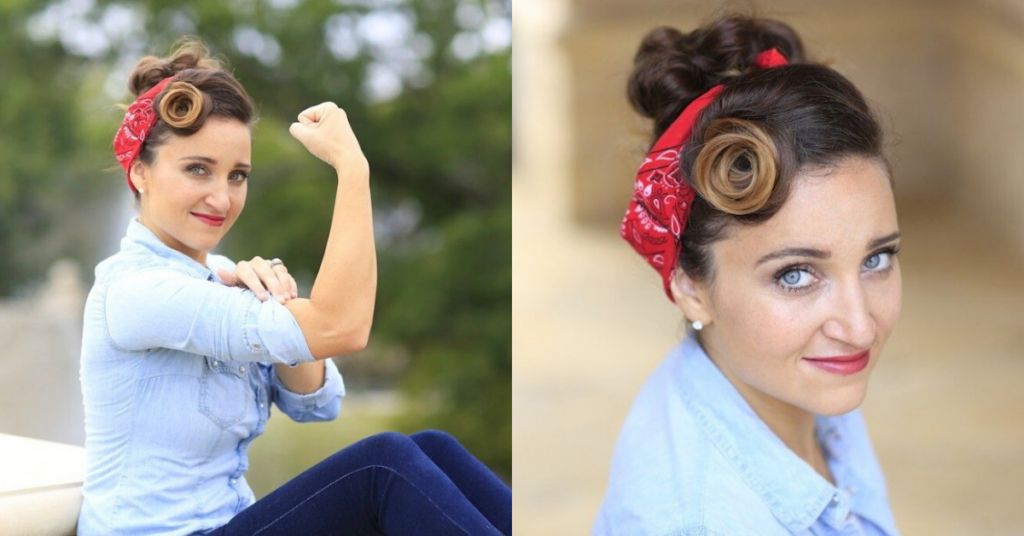 "(Left) Woman sitting outside wearing a 'Rosie Riveter' costume and posing (Right) Top view of woman wearing blue shirt modeling ""Rosie Riveter"" hairstyle"