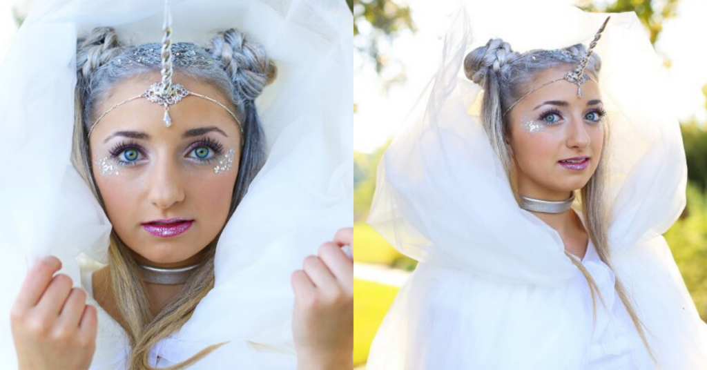 "Side-by-side (Left) Girl in an all white and silver costume and modeling ""Unicorn Half-Up"" (Right) side view of girl in all white silver costume modeling ""Unicorn Half-Up"""