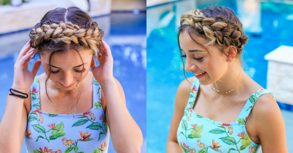 Side to side images of girl modeling Milkmaid Braids DIY