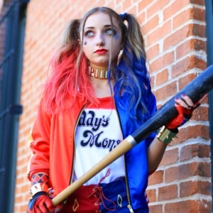 "Girl dressed up as ""Harley Quinn"" Halloween Costume"