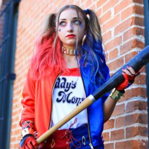 "Girl dressed up as ""Harley Quinn"" Halloween Costume"