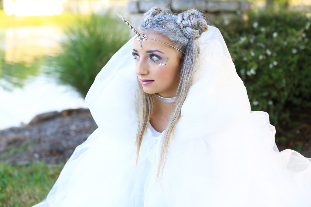 "Girl dressed in ""Unicorn fairy"" costume for Halloween"