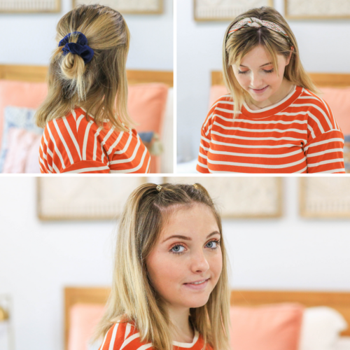 mutliple images of a multiple hairstyles